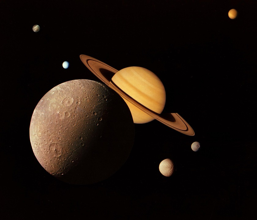 Montage Saturn Moons Space Planet Cosmos